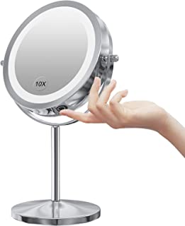 LED Makeup Mirror with Touch Screen Adjustable LED Light, 7 Inch Lighted Vanity Swivel Mirror 1x/10x Magnifying Double Sid...