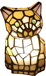 Bieye L10211 8 Inch Cute Cat Waits for Someone to Play with Tiffany Style Stained Glass Accent Table Lamp Night Light for Bedside Living Room Bedroom Animal Pet Lovers, Yellow