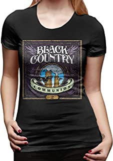 Womens Crew Neck Shirts Printing Black Country Communion Basic Short Sleeve T Shirt