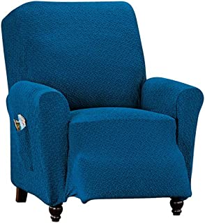 Collections Classic Textured Stretch Spandex Fabric Slipcover Protector, Solid, Blue, Recliner