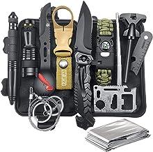 Survival Gear Kit Campar Gear، 12-in-1 EDC Survival Earthquaker Kit، SOS ابزار اضطراری برای کمپینگ ، پیاده روی ، زمین لرزه زمینهای جنگ ماجراجویی وحشی ، هدایای منحصر به فرد برای او همسر مردان دوست پسر