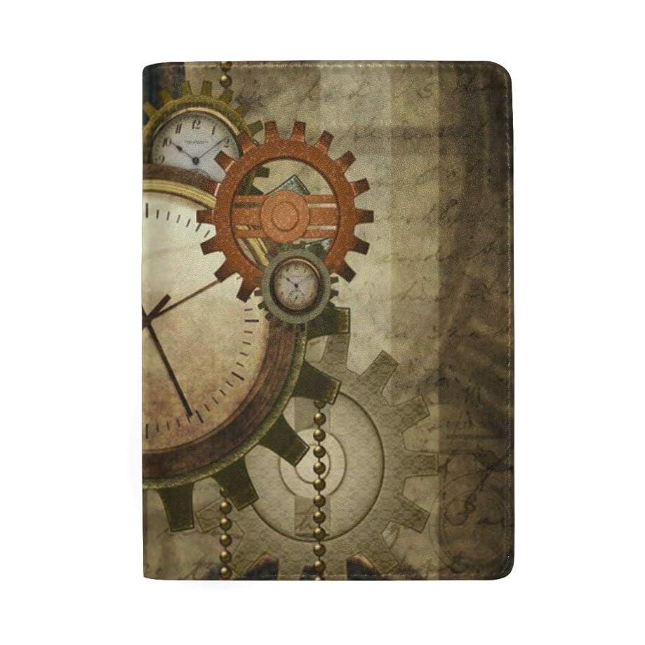 Passport Holder Steampunk Clocks And Gears Passport Cover Case Wallet Card Storage Organizer for Men Women Kids