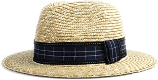 Sun Hat for men and women Jazz Sun Hat Straw Summer Straw Hat Ladies Men Blue Black Plaid Beach Hat Panama Hat