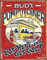 SUDISSKM バドのパンプアンドダイナーはここで食べて、ガスで苦しめられたレトロなビンテージティンサイン