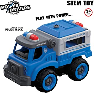 Flybar Power Drivers RC Remote Control Take Apart Cars Trucks, Construction Police, Fire, City Squad, Boys Toys Ages 3 and Up (Blue Police Truck)
