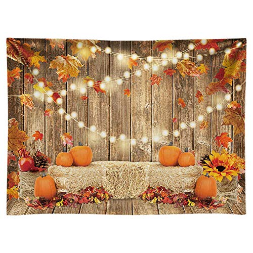 Funnytree 8x6FT Soft Fabric Fall Pumpkin Photography Backdrop Autumn Tanksgiving Harvest Hay Leaves Wooden Background Sunflower Maple Baby Shower Banner Decoration Party Supplies Photo Booth Prop