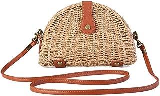 Straw Bag, Womens Woven Straw Crossbody Vintage Handbag Summer Shoulder Bag for Beach Travel and Everyday Use
