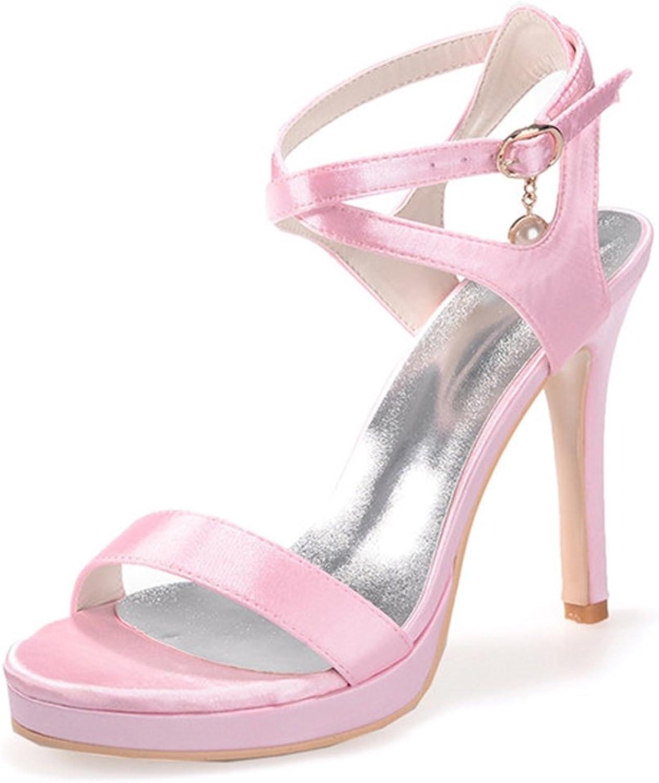 Elobaby Frauen Sandalen Stretch Satin für Hochzeit Pump Peep Toe Heels Gre Party Schuhe Sommer LC-5915-09