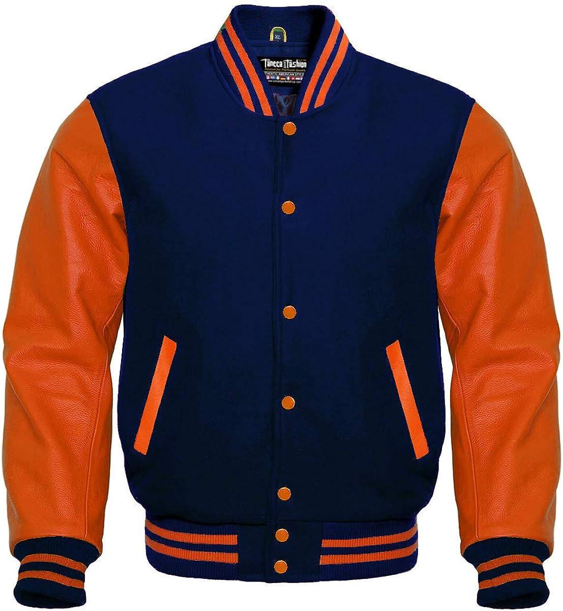 Varsity Navy Wool and Genuine Orange Leather Sleeves Letterman Jacket