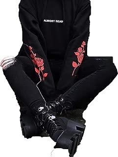 Bows shop Gothic Hoodies Almost Dead Rose Pattern Sweatshirt Black Unisex Pullover