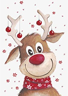 Diamond Painting Kits for Adutls and Kids, Full Drill Round Rhinestone Paint with Diamonds,Cross Stitch Embroidery Art Perfect for Relaxation and Home Wall Decor (Christmas Reindeer, 12X16inch)