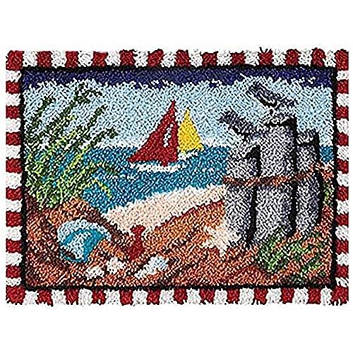 JHGF Kit De Alfombras, DIY Seascape Carpet, De Alfombras con Gancho Alfombra Sin Terminar Regalo for Adultos Adecuado for Principiantes De Bricolaje Tapiz Decoración De La Casa. 19.6x13.7in