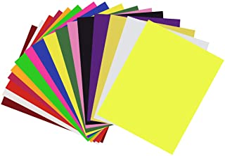 Vinilo de transferencia de calor para tela de camisetas - 16 hojas de colores surtidos - Hierro en HTV Kit de inicio de color vinilo para Cricut y Silhouette Cameo, 30x25cm
