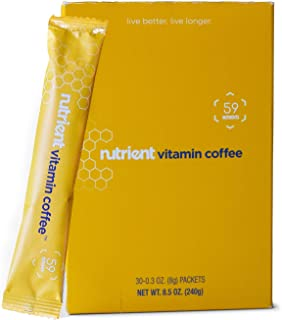 Nutrient Vitamin Coffee - Vitamin Coffee Packets - Daily Instant Coffee Singles with 13 Essential Vitamins - A, B6, B12, C, D, E, K, Biotin, Folate, Thiamin (B1), Riboflavin (B2), Niacin (B3) and (B5)