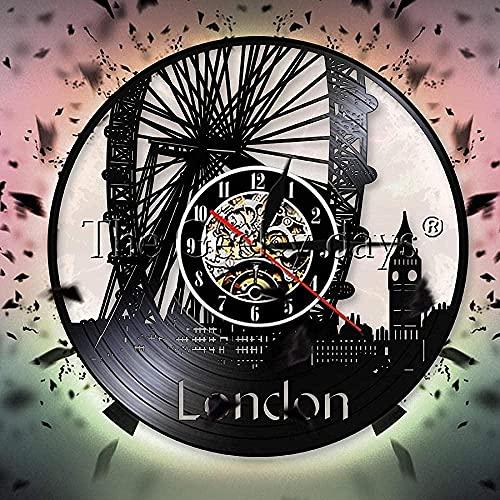 GVSPMOND Reloj de Pared Retro con Vista a la Ciudad de Inglaterra, Reloj de Pared con Horizonte de Londres, Reloj de Pared con Disco de Vinilo, diseño de Big Ben, Paisaje, Regalo para viajeros