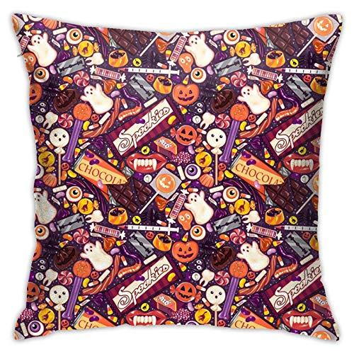 Fundas de almohada de Halloween escalofriantes en morado de 45,7 x 45,7 cm, para sofá, cama, sala de estar, cojines cuadrados decorativos para el hogar