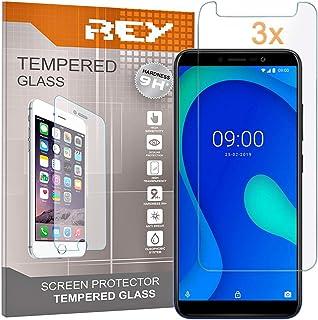 REY skärmskydd för WIKO Y80, härdat glasfilm, premiumkvalitet, perfekt skydd för repor, pauser, fukt, [paket 3x]