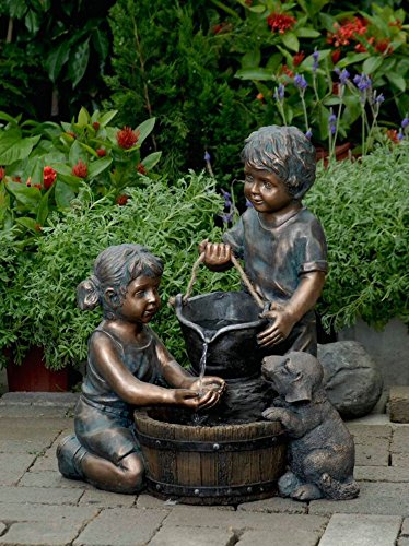 """21.9"""" Young Boy and Girl with Puppy Dog Outdoor Patio Garden Water Fountain"""