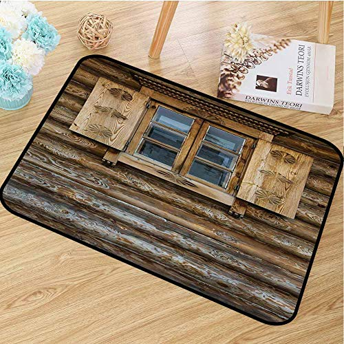 hengshu Shutters Inlet Outdoor Door mat Windows with Shutters Patterned on The Wall of The Old Wooden House Cottage Print Catch dust Snow and mud W23.6 x L35.4 Inch Brown Beige