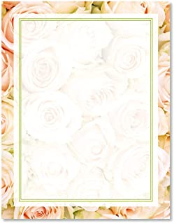 Pale Pink Roses Letter Papers - Set of 25 spring stationery papers are 8 1/2