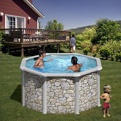 Zizy Pools Freistehendes Schwimmbecken, auf dem Boden stehend, Stahl, Stein-Optik,erhältlich in fünf verschiedenen Größen