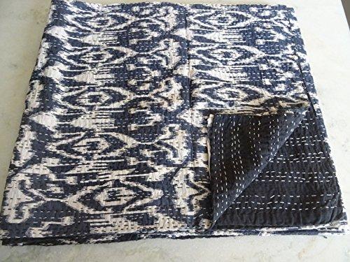 Tribal Asian Textiles IKAT Print King Size Kantha Quilt Kantha Decke Bettüberwurf King Kantha Tagesdecke Bohemian Bettwäsche Kantha Größe 228 x 274 cm 30 cm