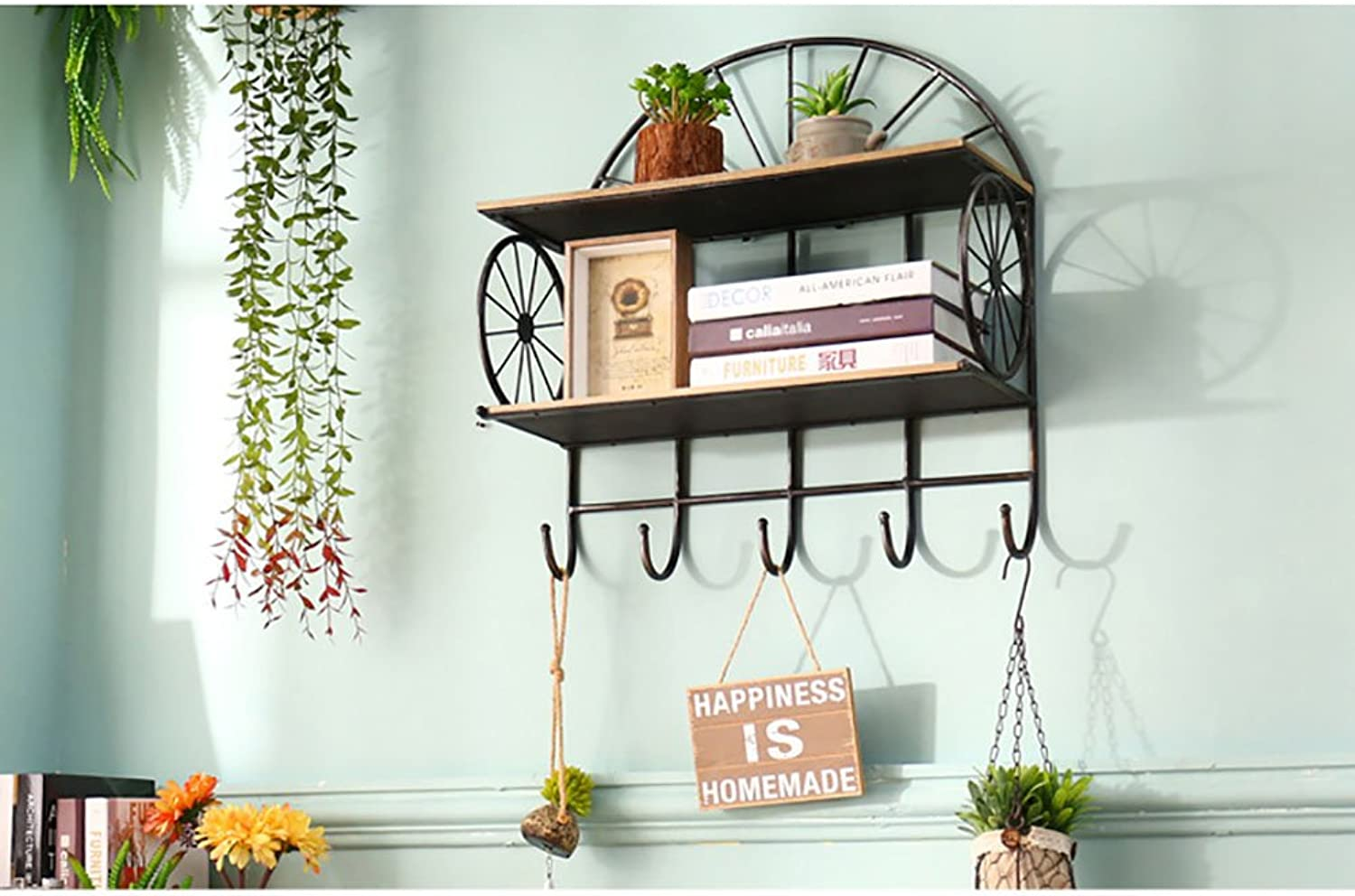 Geometry Shelf, Continental Iron Art Wooden Wall Hanging Home Balcony Double Layer Hook Shelf Decorative Frame on the Wall Suspension Wall Surface Wall Hanging Wall Decoration Shelves Wall Flower