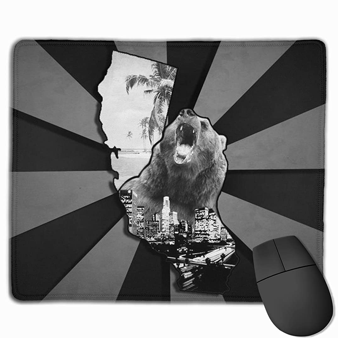 Zebra Dye California Bear Beach Non-Skid Unique Designs Gaming Mouse Pad Black Cloth Rectangle Mousepad Art Natural Rubber Mouse Mat with Stitched Edges 9.811.8 Inch