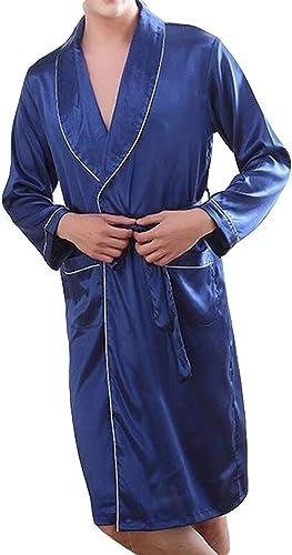 BoBoLily Robe De Chambre Hommes Printemps Et été avec Longue Chemise De Nuit Spécial Style Peignoir Léger Confortable Robe De Robe De Bain