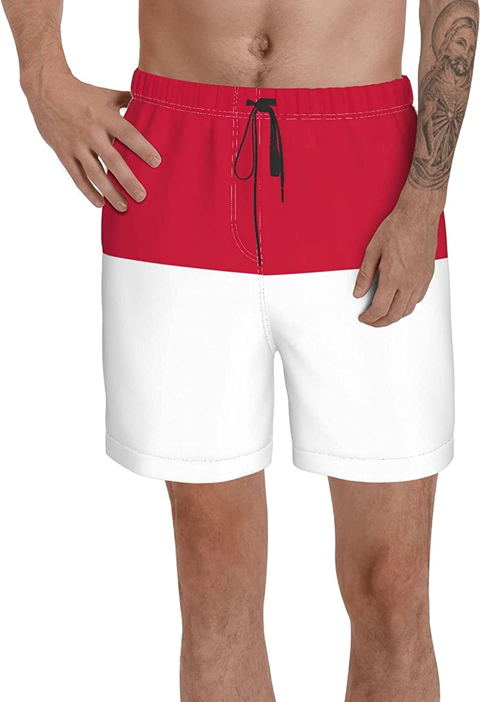 Count Indonesia Flag Men's 3D Printed Funny Summer Quick Dry Swim Short Board Shorts with