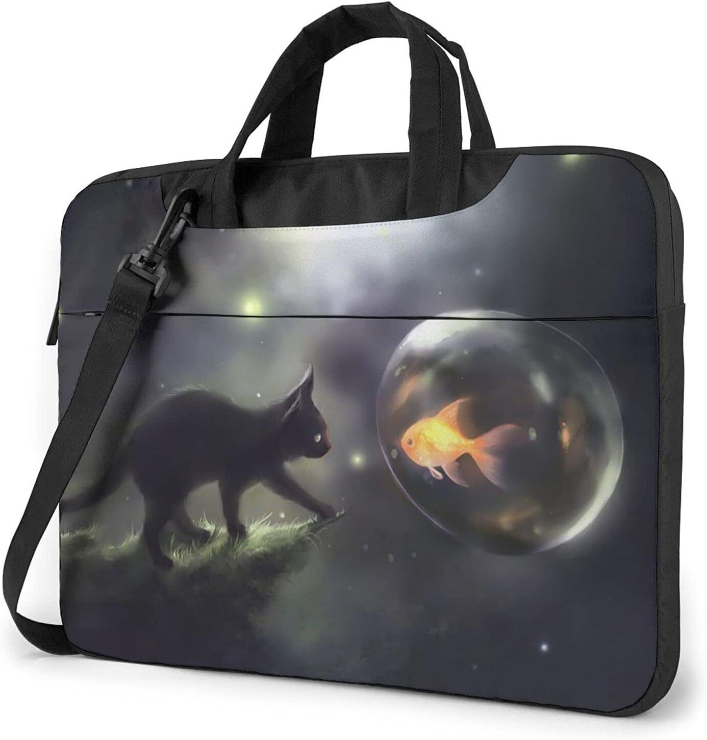 Little Black SALENEW very popular Cat Meets Goldfish Briefcase Crossbod Classic Bombing free shipping Slim