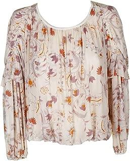 Womens Blouson Floral Print Peasant Top