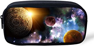 Ledback 3D Galaxy Pencil Box for Boys Large Pencil Bag Children Teenager Pen Holder Cosmetic Makeup Bag Women Durable Polyester Stationery Pouch Bag Big Capacity Star Pattern