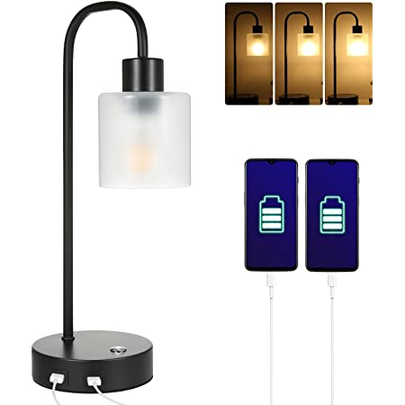 Tomshin1 Bedside Table Lamps Touch Control with Dual USB Charge Port,Stepless Dimmbale Desk Lights with Eye-Caring Matt Glass Shade for Bedroom Living Room Lounge,Adjustable Brightness Bulb Included