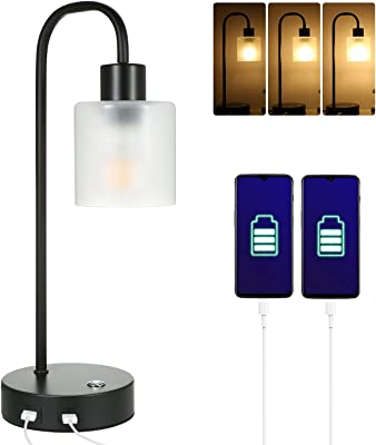 Tomshine Bedside Table Lamps Touch Control with Dual USB Charge Port,Stepless Dimmbale Desk Lights with Eye-Caring Matt Glass Shade for Bedroom Living Room Lounge,Adjustable Brightness Bulb Included