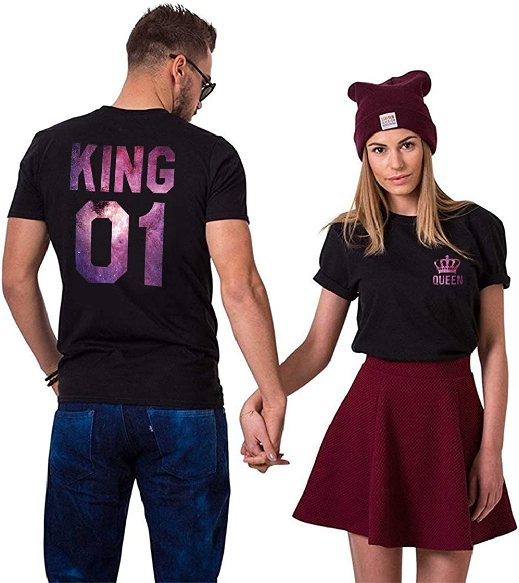 King Queen - Camiseta de manga corta para parejas, diseño de rey reina