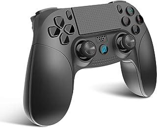scorel PS4 コントローラー ワイヤレス Bluetooth 二重振動 DUALSHOCK 4代用 ジャイロセンサー機能 イヤホンジャック ゲームパット搭載 高耐久ボタン(ブラック)