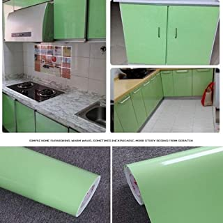 LZYMLG Glossy PVC Vinyl Contact Paper for Kitchen Cabinets Door Cover Stickers Home Decor Waterproof Removable Self Adhesive Wallpaper Light Green 3mX61cm