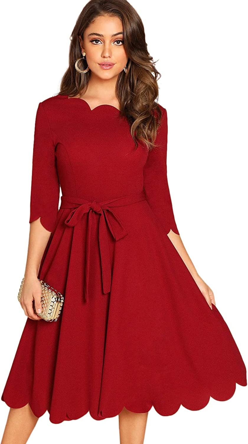 Milumia Women's 3 4 Sleeve Belted Knee Length Fit & Flare Scallop Dress