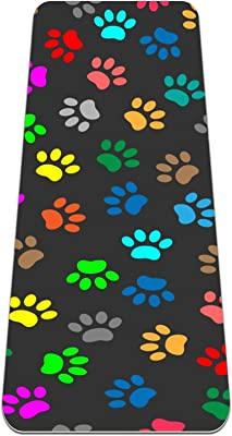 Colorful Animal Paw Prints Yoga Mat Thick Non Slip Yoga Mats for Women&Girls Exercise Mat Soft Pilates Mats,(72x24 in, 1/4-Inch Thick)