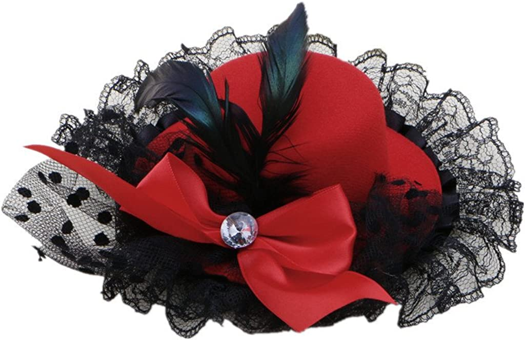Kocome Bow Hair Clip Lace Feather Mini Top Hat Fascinator Burlesque Party Fancy Dress