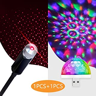 Romantic Auto Roof Star Projector Lights with Mini Disco Light, Aevdor Car Star USB Night Lights, Flexible Atmosphere Decorations Lamp for Bedroom, Car, Party, Ceiling and More- Plug and Play
