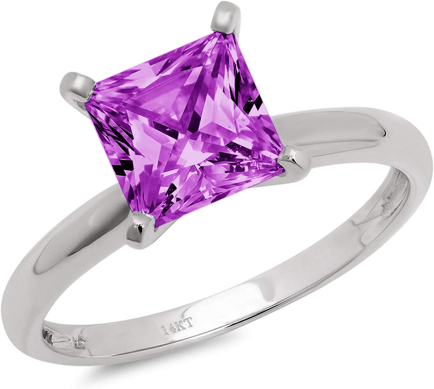 2.95 ct Brilliant Princess Cut Solitaire Flawless Simulated CZ Purple Alexandrite Ideal VVS1 4-Prong Engagement Wedding Bridal Promise Anniversary Designer Ring Solid 14k White Gold for Women