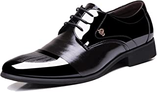 Mens Patent Leather Tuxedo Dress Shoes Lace up Pointed Toe Oxfords