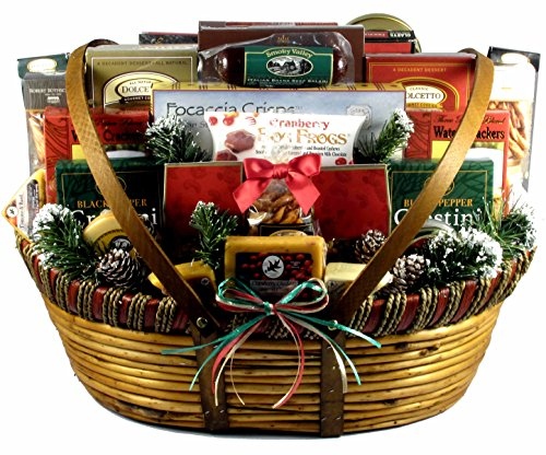 Gift Basket Village Home For The Holidays, Christmas Gift Basket (XXL), Meat And Cheese Christmas Gift Basket With Wisconsin Favorites And More, 20 Pounds