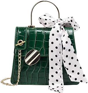 Skbiubiu Ladies fashion small square bag embossed shoulder bag casual messenger bag retro shoulder bag (Color : Green, Size : 20 * 16.5 * 8cm)