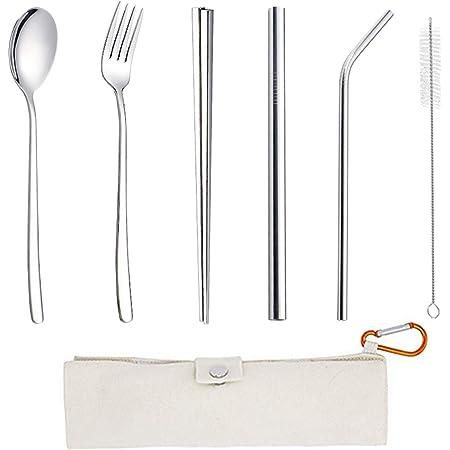 Lawei Juego de cubiertos de viaje de 16 piezas, utensilios de ...