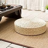 Cojín de asiento plano de paja, cojín de futón Cojín de futón Yoga Jardín redondo Comedor Almohada Alfombrilla Beige Decoración para el hogar al aire libre para Zen / Práctica de yoga / Meditación