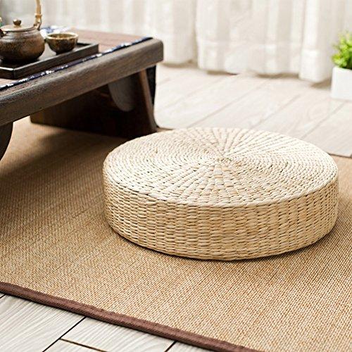Cojín para el suelo de la hierba de paja de Tatami, tejido a mano, esponja de goma elástica de uso interno (no espuma) como el núcleo, cojín redondo para el piso para el asiento de yoga 40*6cm As Picture Show