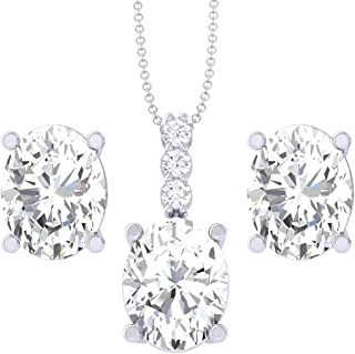 Clara 92.5 Sterling Silver Oval Solitaire Pendant Earring Jewellery Set Gift for Women & Girls